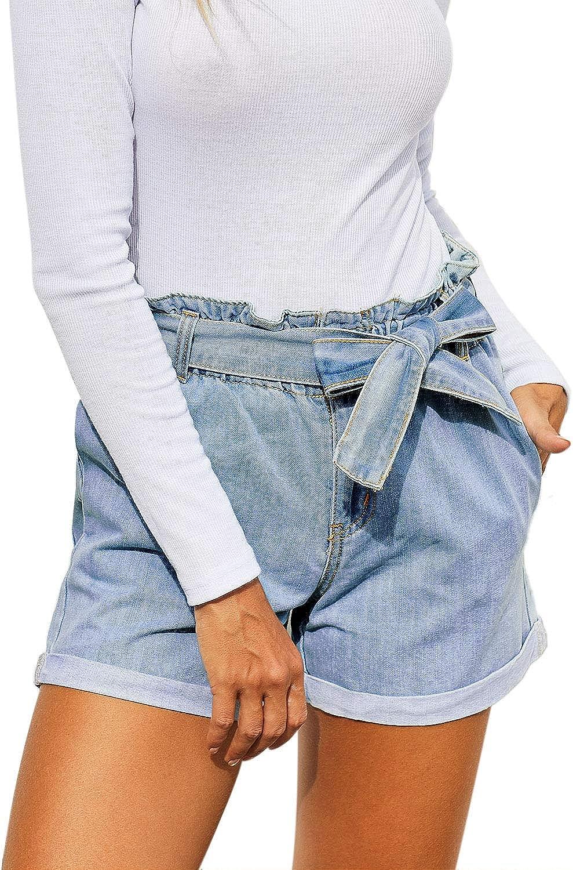 Cabala Women Bowknot High Waisted Wide Leg Roll Hem Denim Jean Shorts with Removable Belt Summer