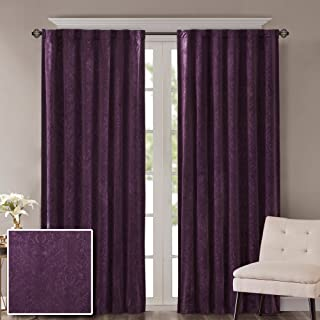 Comfort Spaces Paisley Motif Poly Velvet Window Curtain Tie Back Energy Efficient Saving Panel Pair with Rod Pocket, 50