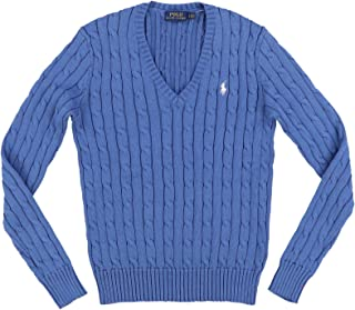 POLO RALPH LAUREN Women's Cable Knit V-Neck Sweater (Large, Slate Blue)