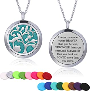 Mtlee Aromatherapy Essential Oil Diffuser Necklace Locket Pendant Stainless Steel Perfume Necklace with 16 Refill Pads and 24 Inch Adjustable Chain (Tree B)