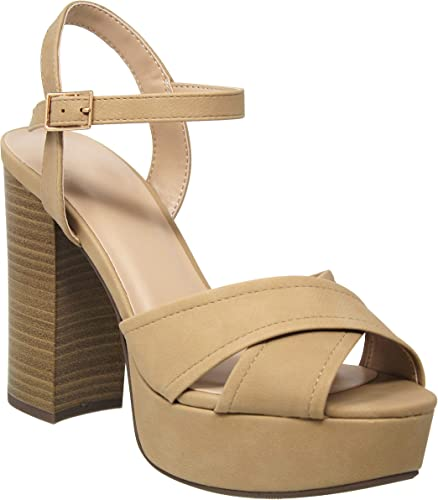 MVE schuhe damen& 39;s Criss Cross Strap High Block Heel Sandal