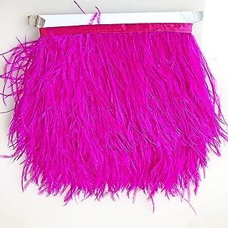 Fuchsia Ostrich Feather Tassel Strips Fluzzy Feather Ribbon Trims Lengthen Fringe Embellish Projects Wedding Dress Evening Gown 1 Metre