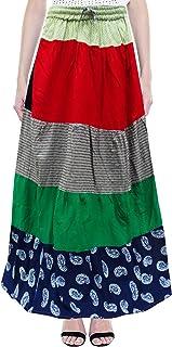 Peegli Gonna Lunga da Donna Multicolor Indiana Casual Abbigliamento Gonna in Cotone Stampato Astratto