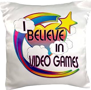 3dRose I Believe In Video Games Cute Believer Design, Pillow Case, 41cm by 41cm