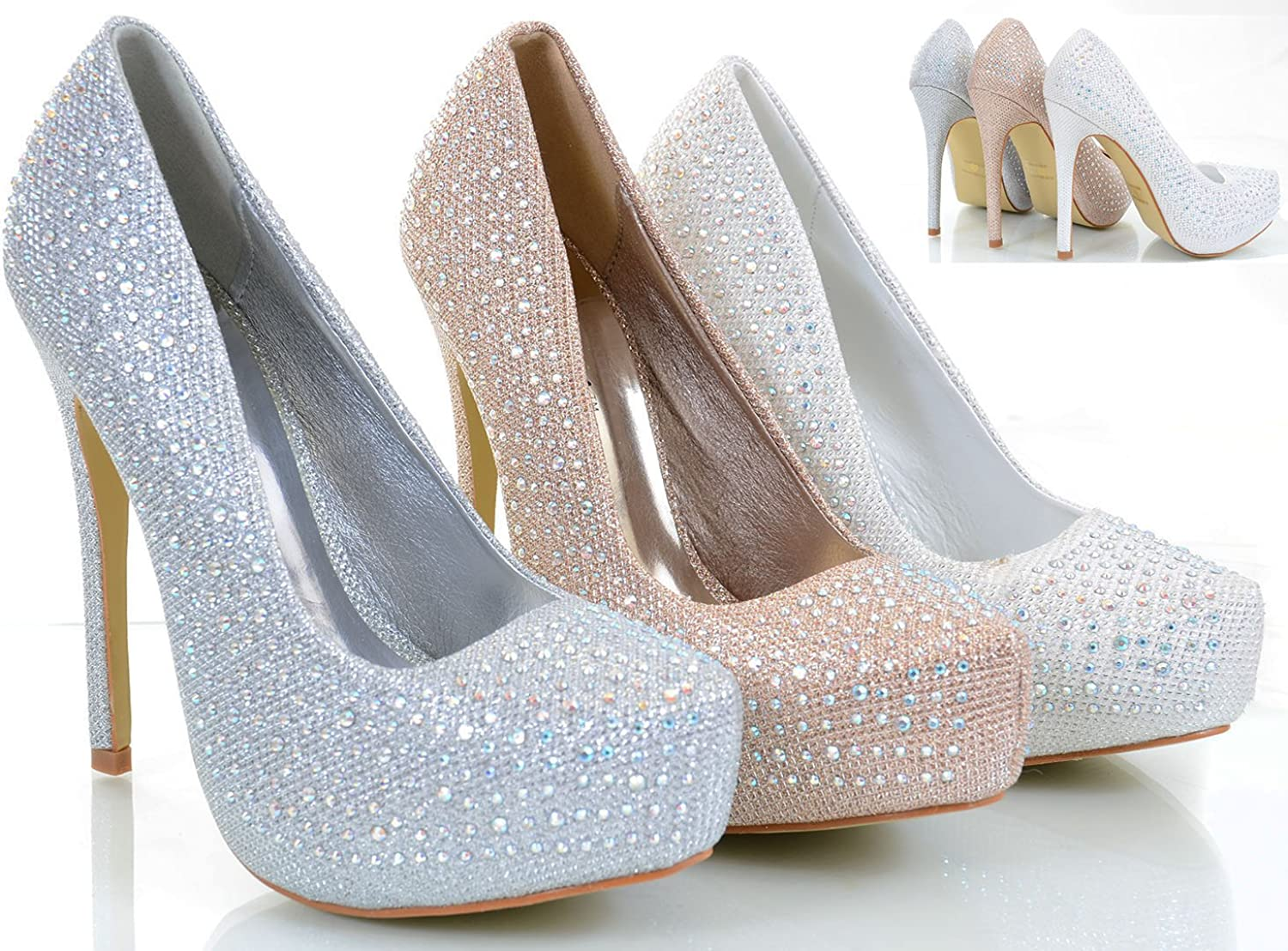 Fourever Funky Jeweled Glitter Beaded Formal Party Heels Pumps