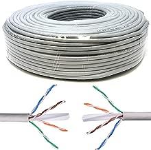 Mr. Tronic 50m Cable de Instalación Red Ethernet Bobina | CAT6, AWG24, CCA, UTP (50 Metros, Gris)