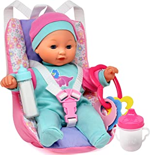 Baby Doll Car Seat with Toy Accessories, Includes 12 Inch Soft Body Doll, Booster Seat Carrier, Rattle Toy, Bib and 2 Bott...