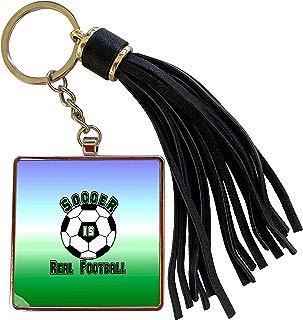 3dRose Deniska Designs Soccer - Soccer Is Real Football on Tricolor - Tassel Key Chain (tkc_12421_1)