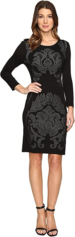 3/4 Sleeve Jacquard Sweater Dress with Embellishment