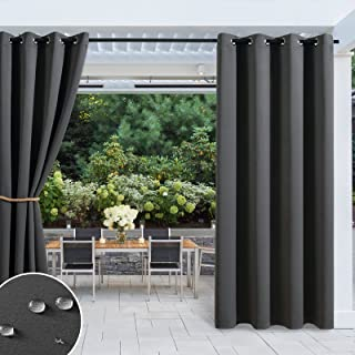 MIULEE Outdoor Waterproof Blackout Curtains External Used Sunlight Blocking Grommet Top Curtain for Balcony / Deck 1 Panel...