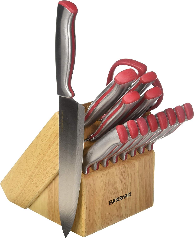 Farberware 5203702 Edgekeeper Knife Set, One Size, Red