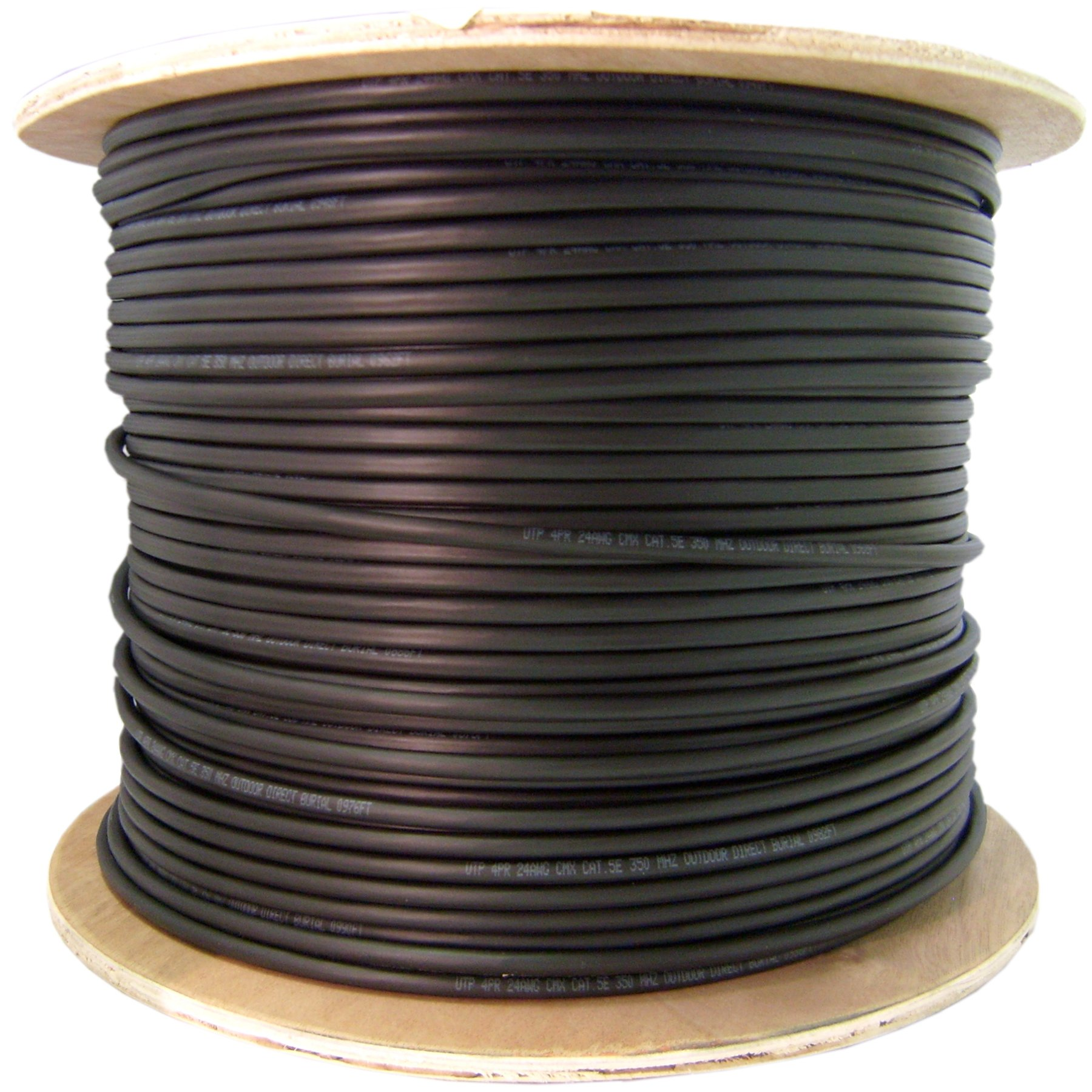 Solid Waterproof Tape 1000 Foot Direct Burial//Outdoor Rated Cat5e Black Ethernet Cable Spool CMX 24 AWG