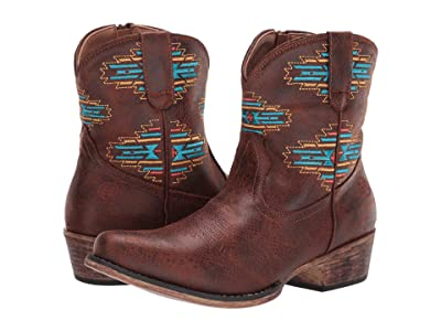 Roper Shay Aztec (Brown Faux Leather/Aztec Embroidered) Cowboy Boots