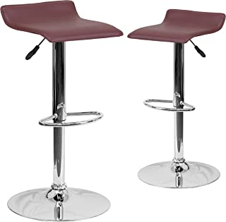 Flash Furniture 2 Pk. Contemporary Burgundy Vinyl Adjustable Height Barstool with Solid Wave Seat and Chrome Base