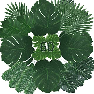 Zhou-long Fake Leaves 60 Pcs Artificial Leaves Tropical Palm Leaves Monstera Leaves with Stems for Safari Decorations Trop...