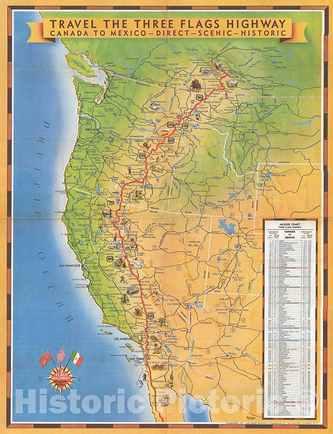 Map Us Highway 395 Amazon.com: Historic Map : Vittier Pictorial Map of U.S. Highway