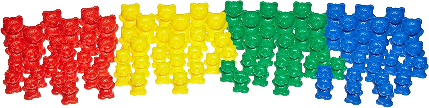 School Specialty Teddy Bear Manipulative Counters  Assorted Sizes  Set of 96  Assorted colors