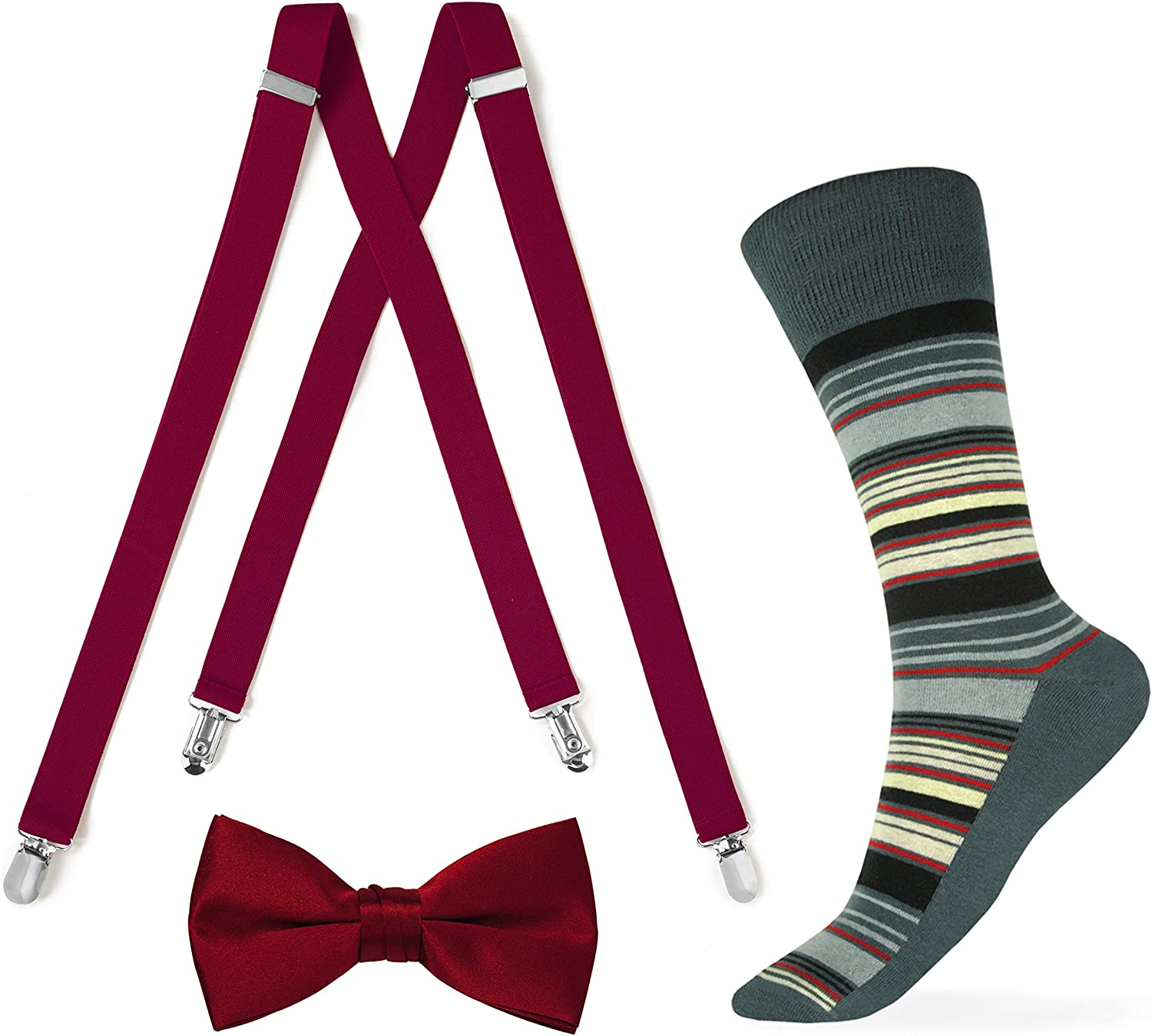 Apple Red Suspender and Bow tie with Striped Sock