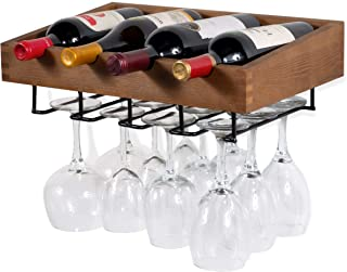 brightmaison Wall Mounted Walnut Stained Wood Wine Stem Rack for Bottles and Stemware Glass Storage Display (Set of 1)