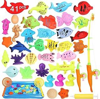 Ucradle 41PCS Juguete de Pesca para Niño, Juguete de Baño Juego Pesca Niños 3 4 5 6 Años Juguetes Bañera Juguetes Piscina ...