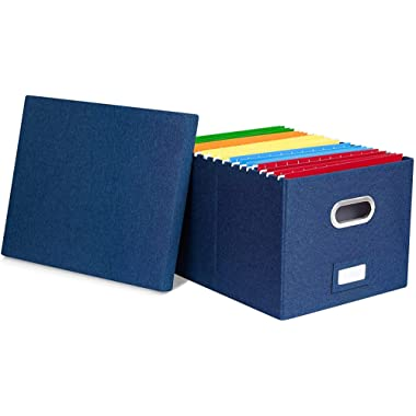 Internet's Best Collapsible File Storage Organizer - Decorative Linen Filing & Storage Office Box - Letter/Legal - Navy - 1 Pack