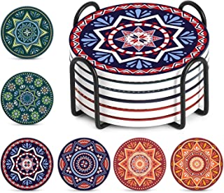 Rayking Drink Coasters with Holder, Mandala Style Absorbent Coaster Sets, Avoid Furniture Being Scratched and Soiled, 4 In...