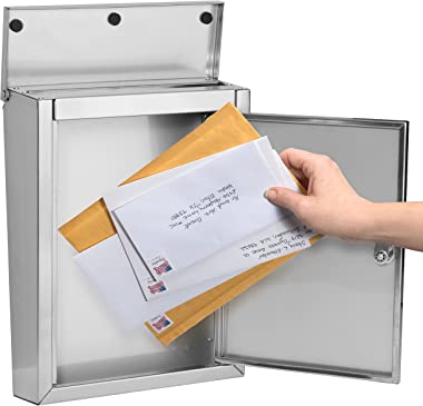 Architectural Mailboxes 2507PS-10 Regent Locking Wall Mount Mailbox, Medium, Stainless Steel