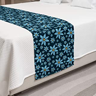 Lunarable Floral Bed Runner, Country Theme Spread of Summer Blossoms in Vintage Blue Vibes, Decorative Accent Bedding Scar...