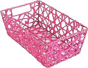 Bosphorus Hand Knitted Basket, Pink, L27.5cm x W17.5cm x H10cm, QYMB8823B