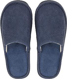 DRUNKEN Blue Carpet Slippers for Men, Slip-On Bedroom Slippers for Home & Travel