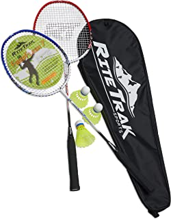 RiteTrak Sports FiberFlash 7 Badminton Racket Set, Featuring 2 Carbon Fiber Shaft Racquets, 3 Shuttlecocks Plus Fabric Car...