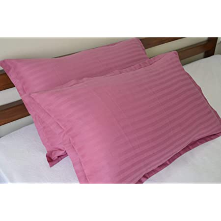 Trance Home Linen Cotton Pillow Covers (20X30-inch, Large Size, Rose Pink) - Pack of 2