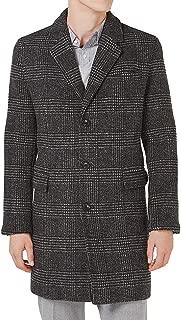 Mens Top Coat Wool Glen Plaid Slim-Fit