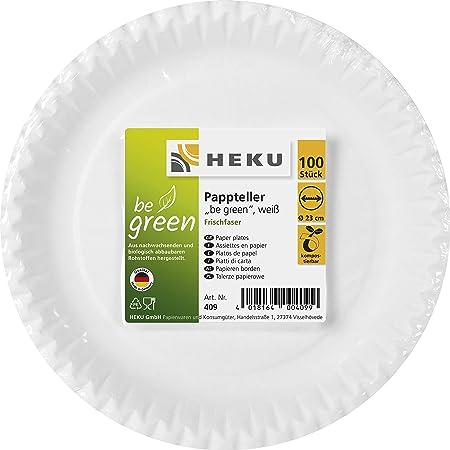 HEKU 30409 Lot de 100 assiettes en carton rondes Blanc Ø 23 cm