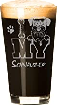 I Love My Schnauzer 16 oz Beer Pint Glass (1 Glass) Launch Sale