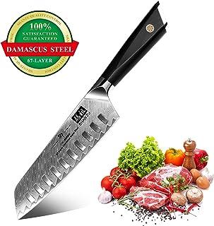 SHAN ZU Cuchillo Santoku, Cuchillo de Cocina Damasco de Acero AUS-10 de 67 Capas, Cuchillo Japones con Mango G10, Cuchillo de Cocinero Profesional, Súper Afilada para Cortar Verdura, Fruta, Carne