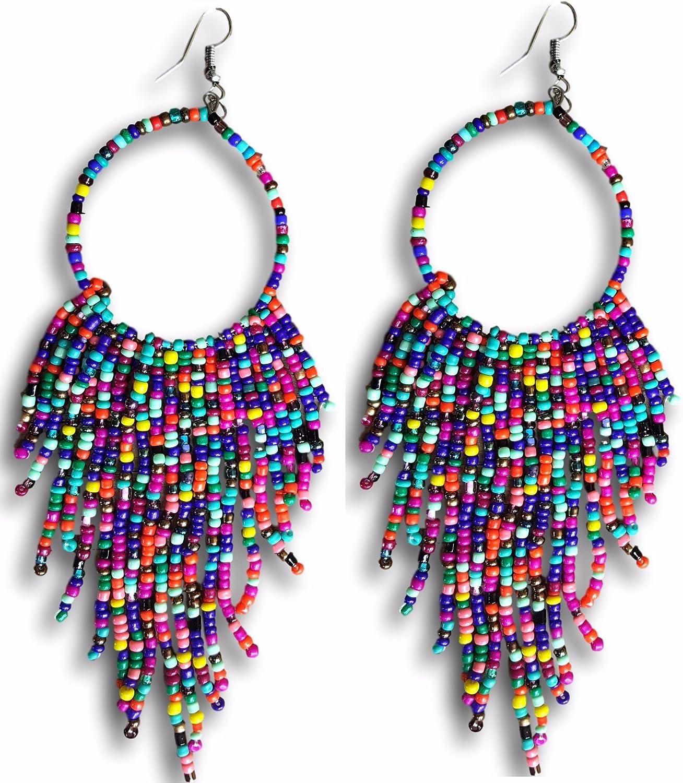 Tribal Dangle Fringe Tassel Bead & Hoop Earrings Native American Style by Pashal (Multi Color)