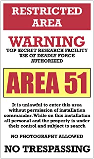 """Restricted Area – Warning – Area 51 13""""x22"""" Vintage Style Showprint Poster - Concert Bill - Home Nostalgia Decor Wall Art Print"""