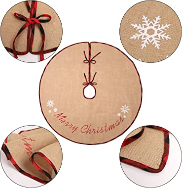 N&T NIETING Burlap Christmas Tree Skirt, 30 Inches Rustic Xmas Tree Skirt for Christmas Decorations, Merry Christmas Tree Orn