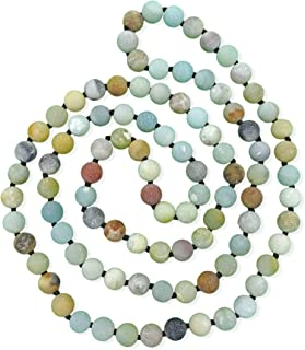 MGR MY GEMS ROCK! 36 Inch 8MM Matte Finnish Genuine Semi-Precious Stone Endless Infinity Long Beaded Strand Necklace.