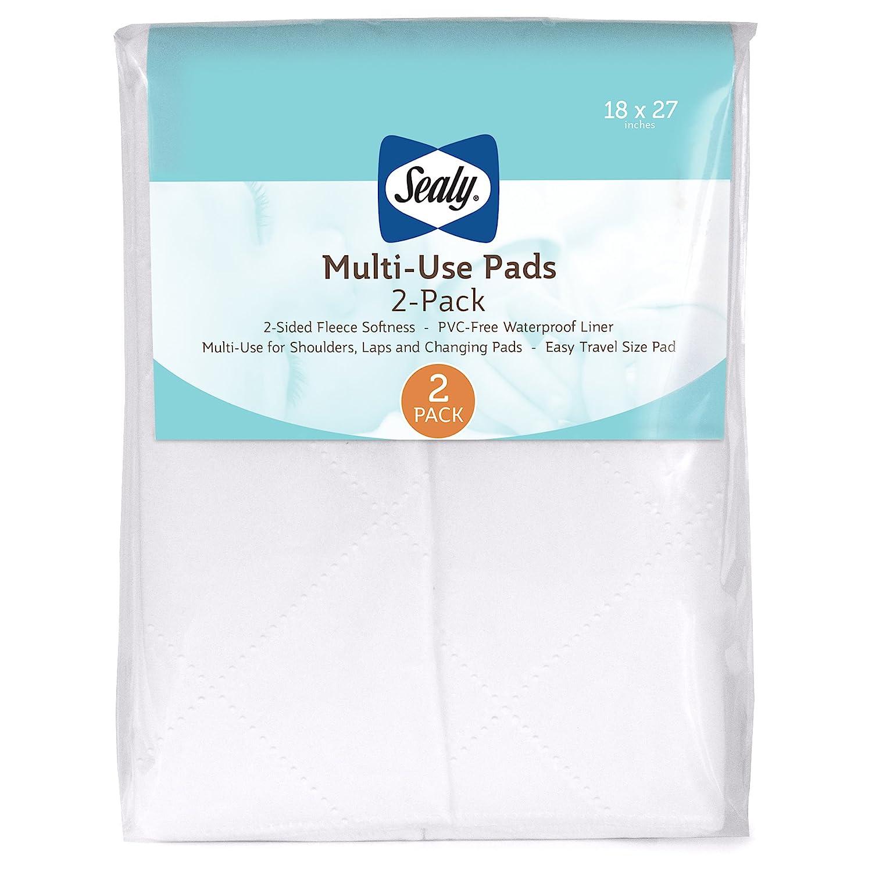 "Sealy Multi-Use Waterproof Fleece Liner Pads: 2-Pack, White, 18"" x 27"""