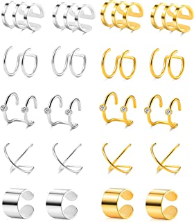 4-10 Pairs Stainless Steel Ear Cuff Helix Cartilage Clip On Wrap Earrings Fake Nose Ring Non-Piercing Adjustable