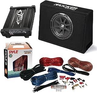 "Car Subwoofer And Amp Combo: Kicker 10TC104 Comp 10"" 300W Audio Subwoofer Bundle With Lanzar HTG137 2000W Mono Block Mosfet Stereo Amplifier + Pyle PLMRAKT8 8 Gauge Marine Amplifier Installation Kit"