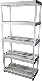 "HDX 36"" x 72"" 5-Tiered Ventilated Plastic Storage Shelving Unit w/ Raised Feet and Tool-Free Assembly"