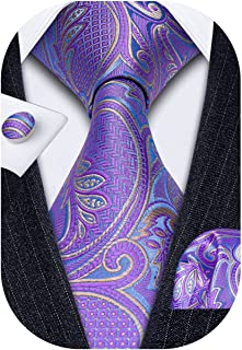 کراوات مردانه Barry.Wang کراوات ابریشمی جامد پیراهن کشش جیب مربع