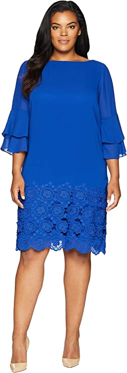 Plus Size Embroidered Hem Shift Dress