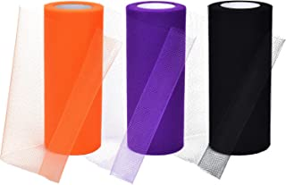 3 Spools Halloween Tulle Rolls Tulle Netting Rolls Tulle Fabric Spool Ribbons, 6 Inches by 75 Feet (Black, Orange and Purple)