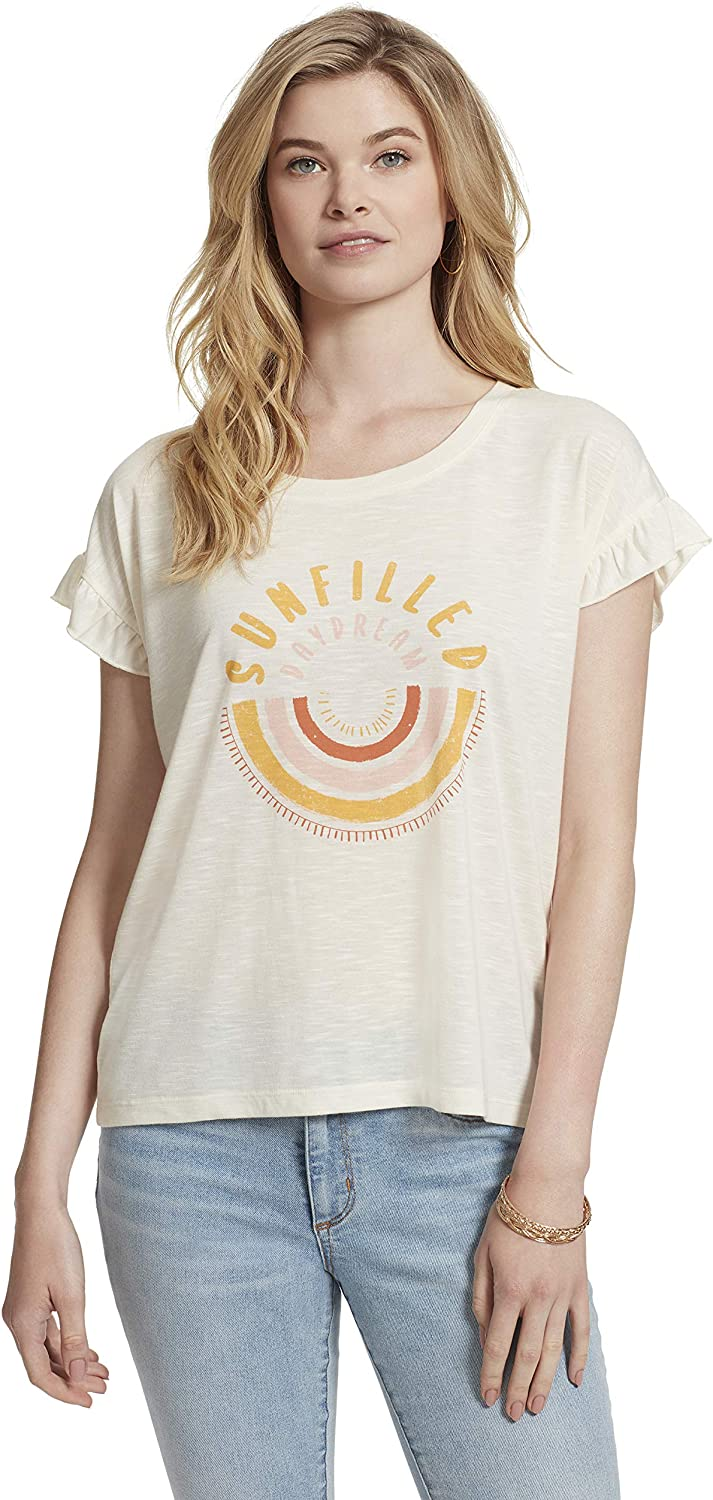Jessica Simpson Women's Sawyer Petal Quality inspection Short Sh Challenge the lowest price of Japan ☆ Graphic Sleeve Tee