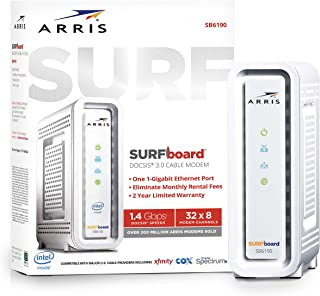 ARRIS SURFboard (32x8) Docsis 3.0 Cable Modem, Certified for Xfinity, Spectrum, Cox, Cablevision & More (SB6190 White)