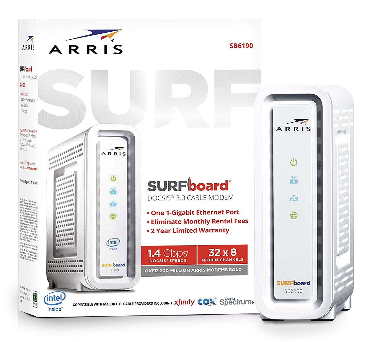 ARRIS SURFboard (32x8) DOCSIS 3.0 Cable Modem, 1.4 Gbps Max Speed, Certified for Comcast Xfinity, Spectrum, Cox, Cablevision & more (SB6190 White)